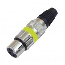 Connettore XLR Microfonico femmina giallo Bilnciato