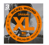 3 Set D'addario EXL 110-3D corde per chitarra elettrica 10-46 Regular light