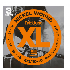 3 Set D'addario EXL 110-3D corde per chitarra elettrica 10-46 Regular light