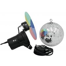Kit palla specchio 20 cm + pinspot + motore + colori