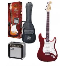 Kit chitarra elettrica 3/4  + amplificatore accordatore e accessori SX rosso metallizzato