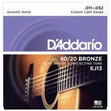 Muta corde chitarra acustica D'ADDARIO EJ13   011- 052 custom light gauge bronze