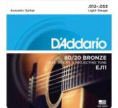 Muta corde chitarra acustica D'ADDARIO EJ11   012- 053  light bronze