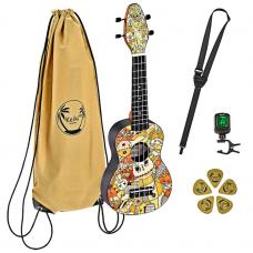 KIT  Ukulele  soprano  Voodoo Puppet  + accessori e borsa  KEIKI K2 - VP  Ortega