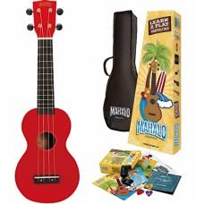 Chitarra Ukulele Rosso +  kit accessori Mahalo