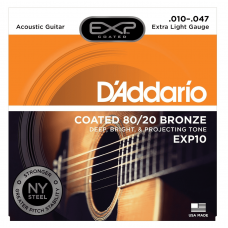 Muta corde chitarra acustica D'ADDARIO EXP10 coated extra light 010 - 47