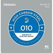 Corda singola PL010-5 D'addario in acciaio  Set 5 corde per chitarra