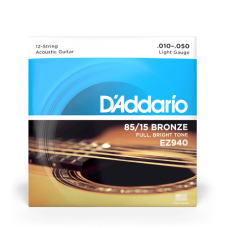 Muta corde chitarra acustica 12 corde  D'ADDARIO EZ-940 Light 010-050