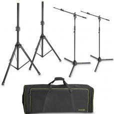Kit supporto 2 stativi reggi casse e 2 aste  per microfono Gravity SSMS set1