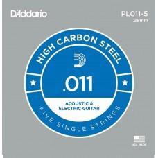 Corda singola PL11-5 D'addario in acciaio Set 5 corde per chitarra