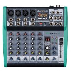 Mixer compatto 6 canali con Bluetooth USB MP3 Karaoke  Studio ZZMXBT6